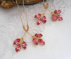 Rose wedding hair pins Pink Bridal hair pins Wedding bobby