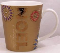 Starbucks-Coffee-Holiday-Cheer-2006-Gold-Noel-Snowflakes-Christmas-Mug-14oz