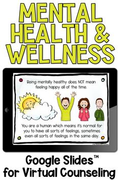 Help your upper elementary students understand the basics of mental health and wellness even while distance learning! School Guidance Counselor, Elementary School Counselor, School Counseling, Virtual Counselor, Social Emotional Activities, Counseling Activities, Kids Mental Health, Health Education, Physical Education