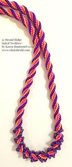 Description: I call this the Kumihimo 12 Strand Ridge Spiral Necklace with Beads! It's a fun twist on the Round Braid and you will enjoy braiding this project. It goes very quickly and it's always sat