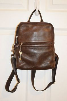 d3c373e6b14a FOSSIL Brown Leather Backpack Purse Silver Key Zipper Pull Vintage Bag