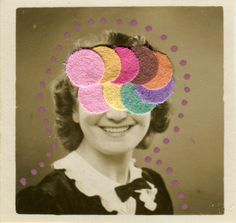 Using some home made paper confetti, I wanted to create a unique collage art realized directly on tiny vintage photos. This collage is part of a