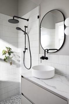 Bathroom Goals, Bathroom Inspo, Bathroom Inspiration, Modern Bathroom, Bathroom Ideas, White Washed Floors, Sage Green Walls, Round Sofa, House Tiles