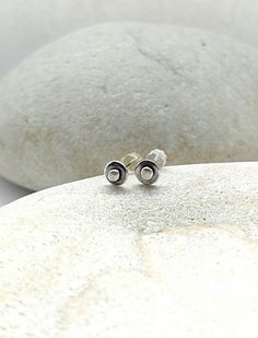 Handmade simple edgy pebble sterling silver stud earrings by Mystic Muse.