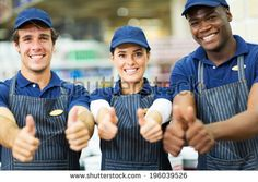 Group Of Happy Supermarket Workers Thumbs Up Foto Stock 196039526 : Shutterstock
