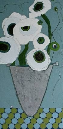 White Poppies in Silver Vase - 48x24 - $4800. - oil & graphite on canvas