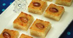 Yummy O Yummy: Basboosa / Basbousa / Semolina Cake – Celebration Time! Greek Sweets, Greek Desserts, Arabic Sweets, Arabic Food, Middle Eastern Sweets, Middle Eastern Recipes, Healthy Cake Recipes, Sweet Recipes, Rose Syrup Recipe