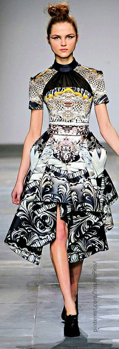 Mary Katrantzou  I wish I could both afford the clothes I love & have an opportunity to wear them, until then, some of the coolest of my Adornment Fetishes are simply dreams. Admiring is just as fun & inspirational. :)