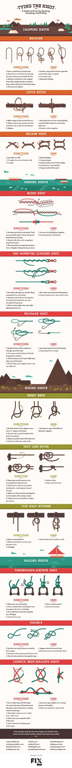 Learn all the knots you need to know for boating, camping, and fishing. Sooo outdoorsy.
