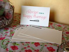 kitchen themed bridal shower recipe for a happy marriage free printables