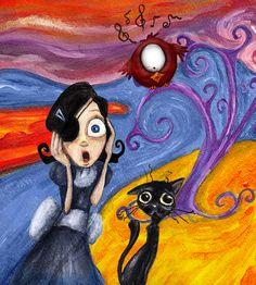 """Carmesina, el Gat Negre i Serafí com """"El Crit"""" de Munch. Del llibre La inspiració adormida, de Silvia G Guirado."""