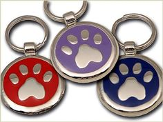 Pet ID Tag - Paw Print - Custom engraved cat and dog ID tags. Jewelry that ensures pet safety. Available in 10 colors and 2 sizes.