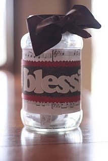 Blessings jar.... write down blessings throughout the year and add them to the jar. On New Year's Eve gather the family and read all the blessings your family has had over the year. Optional: Add the blessings to an album so we can always look back @ the blessings we've counted.