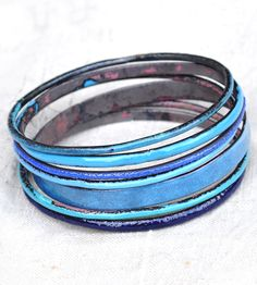 Bluey Enamel Bangle Set