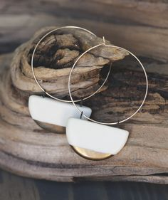 White porcelain earrings on large gold filled hoops. Glazed lightly for strength and durability. These earrings are sure to grab attention with gold fired onto the tips. They are light weight and add a graceful touch. Unique Earrings, Earrings Handmade, Handmade Jewelry, Porcelain Jewelry, Ceramic Jewelry, Fine Porcelain, Porcelain Ceramics, Porcelain Tile, Jewelry Shop