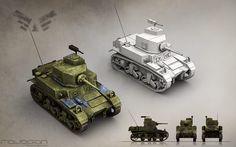 Light Tank (Blue faction). Team Ravegan. Fan page: https://www.facebook.com/RaveganGames  #3DModeling #3D #3DModels
