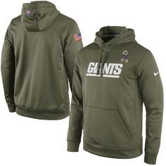 Nike New York Giants Salute to Service KO Pullover Performance Hoodie - Olive