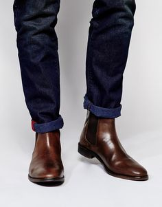 $83, Chelsea Boots In Leather by Asos. Sold by Asos. Click for more info: http://lookastic.com/men/shop_items/172966/redirect