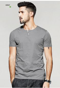 Style: Casual Sleeve Length(cm): Short Collar: Henry Collar Pattern Type: Solid Hooded: No Fabric Type: Broadcloth Sale by Pack: No Sleeve Style: Regular Material: Cotton,Spandex Item Type: Tops Tops Type: Tees Gender: Men
