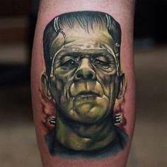 Frankenstein tattoo *** Airbrush onto the rockcrawler