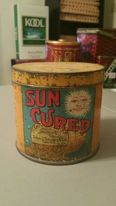 SUN CURED TOBACCO CANISTER VINTAGE TOBACCIANA ADVERTISING | eBay