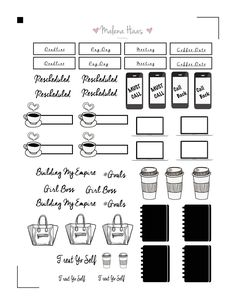 Black and White Happy Planner Stickers
