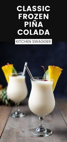 A classic frozen or shaken piña colada recipe made with white rum, cream of coconut, and pineapple juice. The perfect ratio for my favorite island/summertime cocktail of all time. I prefer frozen, but you can also shake this concoction for an equally tasty but different experience. Classic Vodka Cocktails, Brandy Cocktails, Mezcal Cocktails, Fun Cocktails, Cocktail Recipes, Pineapple Cocktail, Pineapple Juice, Fancy Pasta Recipe, Frozen Pina Colada
