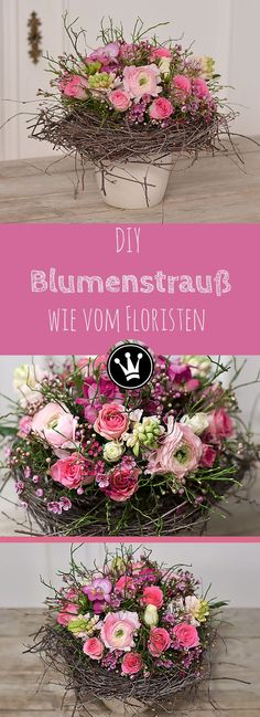 Diesen Strauß könnt ihr oh. DIY - Romantic bouquet as from the florist! You can make this bouquet yourself without any floristic know-how. Spring Flower Arrangements, Ikebana Flower Arrangement, Beautiful Flower Arrangements, Floral Arrangements, Making A Bouquet, Diy Bouquet, Spring Bouquet, Spring Flowers, Faux Flowers