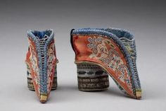 Shanxi style antique Chinese lotus shoes, 19th century. LADIES' BOUND FEET SHOES.