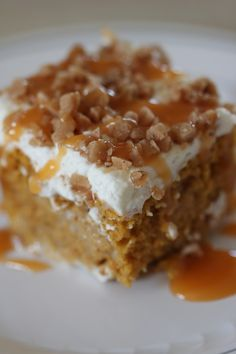 Pumpkin Poke Cake - Yum!  Fall is right around the corner.