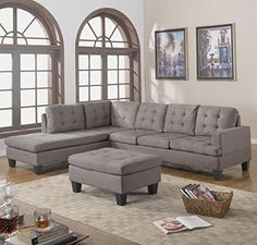 Divano Roma Furniture 3Piece Reversible Chaise Sectional Sofa with Ottoman Grey Charcoal -- Find out more about the great product at the image link.Note:It is affiliate link to Amazon.