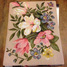 Gobelin Needlepoint  Kit Floral Bouquet Penelope Canvas 40x30cm Scheepjeswol Vtg #Scheepjeswol