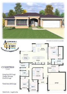 House Plan - Affordable Quality Homes Corinthian (How To Get Him To Propose Sweets) Round House Plans, Free House Plans, House Layout Plans, Family House Plans, Modern House Plans, Small House Plans, House Layouts, Modern Bungalow House, Bungalow House Plans