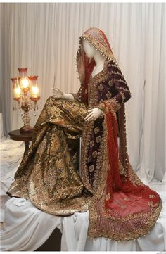 .gold, red and purple pakistani wedding dress, pakistani wedding, Pakistani fashion