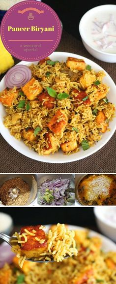 Paneer Biryani is a super delicious and aromatic Indian rice entree made using fragrant basmati rice, cubes of paneer (Indian cottage cheese) and spices. Vegans to substitute firm tofu for Paneer. Spicy Recipes, Indian Food Recipes, Vegetarian Recipes, Cooking Recipes, Healthy Recipes, Healthy Baking, Curry Recipes, Healthy Food, Palak Paneer