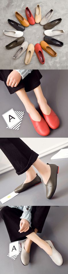 US$26.26 Big Size Leather Comfortable Slip On Lazy Casual Flat Shoes