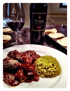 Chicken mole + cilantro rice + Ceja Vineyards 07 Cabernet.