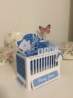 Baby crib cot box card. Pattern from SVG Cuts.