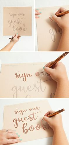 The easy way to make metallic hand lettered wedding signs, with FREE printables!