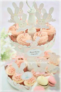 Shabby Chic Bunny Themed 1st Birthday Party with SUCH CUTE IDEAS via Kara's Party Ideas | KarasPartyIdeas.com #BunnyParty #PartyIdeas #Suppl...