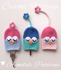 Crochet Pattern Owl Key Cosy keycover cozy uk by avondalepatterns