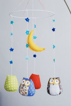 Owls baby nursery mobile