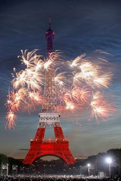 red, white, & blue. The colors of the U.S.A.. why is it on the iffle tower, in PARIS.
