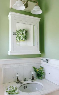 """In a seaside cottage in Maine, walls painted in Farrow & Ball 'Green Ground' complement the original, tiny marble corner sink and cabinet. Photo by Edward Addeo."" - Arts & Crafts Homes and the Revival Bathroom Art, Bathroom Colors, Bathroom Green, Bathroom Ideas, Bathroom Plants, Family Bathroom, Bathroom Designs, White Bathroom, Small Bathroom"