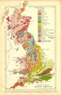 Geological map of Great Britain. The grey bits in the middle, north-east England and south Wales are the coal fields. Map Of Great Britain, Britain Map, Roman Britain, Stone Age Tools, Old Maps, Vintage Maps, Antique Maps, Vintage Signs, Historical Maps