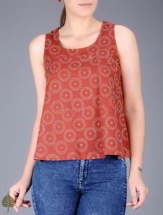 Madder-White Block Printed Cotton Top by Jaypore