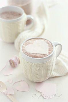 Freezing Whipped cream to make hearts for your hot chocolate. What a great idea!
