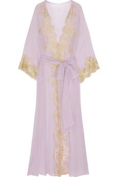 Rosamosario Camelot Mon Amour lace-trimmed silk-georgette robe | NET-A-PORTER