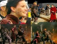 """Arwen (Liv Tyler) at Helm's Deep on the """"Two Towers"""" film set. I thought she could be like Padme Amidala from the Star Wars Prequel Trilogy if she won't be deleted from the second movie in the TLOTR Trilogy. Just look at her clothes! The colors are very similiar to Queen Amidala's Battle Dress (she wore in """"The Phantom Menace""""), hah! ;PP So it will be maybe something like this if it won't be deleted, I think. 