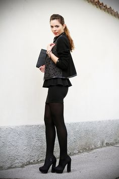 chic outfit total black with lace and peplum skirt www.ireneccloset.com